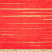 Cotton + Steel Noel Metallic Gold Stripe Red Fabric By The Yard