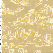 Company C Beige Village Toile Print Home Decorating Fabric, Fabric Sold By the Yard