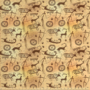 Primitive Decor Fabric by the Yard by Ambesonne, Dated Irregular Caveman Paint Forms with Bird and Cow Shape Early Modern Humans Artwork, Decorative Fabric for Upholstery and Home Accents, Tan Brown