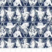 IN STOCK Wonder Woman Fabric Triangles in Navy Fabric From Camelot 100% Premium Quality Cotton DC Comics
