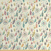 Native American Decor Fabric by the Yard by Ambesonne, Colourful Set of Indian Boho Dreamcatchers in Soft Retro Colours Shaman Symbol Print, Decorative Fabric for Upholstery and Home Accents Multi