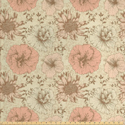 Modern Decor Fabric by the Yard by Ambesonne, Retro Floral Pattern on Nostalgic Vintage Nature Design Kitsch Print, Decorative Fabric for Upholstery and Home Accents Cream Pink Brown