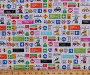 Cotton Travel Road Traffic Signs Cars Summer Vacation Road Trip Route 66 Highway Driving Rest Stops Vehicles Transportation Are We There Yet. Barbara Jones Cotton Fabric Print by the Yard