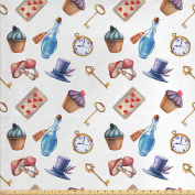 Alice in Wonderland Decor Fabric by the Yard by Ambesonne, Cupcakes Mushrooms Bottles Hanging in Sky Alice Magic Dessert Fairy Tale , Decorative Fabric for Upholstery and Home Accents Multi