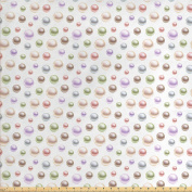 Pearls Decoration Fabric by the Yard by Ambesonne, Colourful Shiny Pearls 3D Art Illustration Pattern Treasure Collection Bridal Style, Decorative Fabric for Upholstery and Home Accents White Pastel