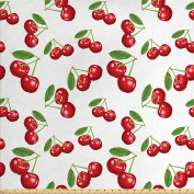 Kitchen Fabric by the Yard by Ambesonne, Cherry Pattern Design Fresh Berry Fruit Summer Garden Macro Digital Print, Decorative Fabric for Upholstery and Home Accents, Red Green and White