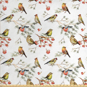 Animal Fabric by the Yard by Ambesonne, Sparrows Chubby Birds Indian Leaves Branches Pine Trees Watercolour Image Artwork, Decorative Fabric for Upholstery and Home Accents, Multicolor