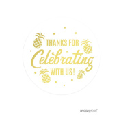 Andaz Press Birthday Round Circle Party Favour Gift Labels, Thank You for Celebrating With Us!, Metallic Gold Ink Pineapple Party, 40-Pack