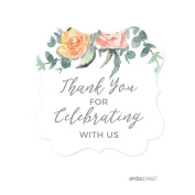 Andaz Press Peach Coral Floral Garden Party Baby Shower Collection, Fancy Frame Gift Tags, Thank You for Celebrating With Us, 24-Pack