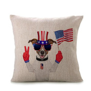 2017 Independence Day Pillow Case,Elevin(TM)New Vintage Patriotic American Flag Pillow Cases Cotton Linen Sofa Cushion Cover Home Decor