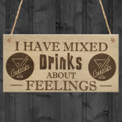 Red Ocean Mixed Drinks Alcohol Wine Funny Friendship Gift Hanging Plaque Home Bar Pub Sign