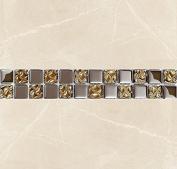 10 x Gold & Silver Glass Border Mosaic Tiles Walls Floors Bathroom Decorative 30cmX5cmX8mm Thick