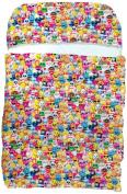 iscream 'Emoji Collage' 180cm x 70cm Faux Sherpa-Lined Silky Fleece Zippered Sleeping Bag