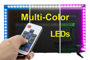 SPE Bias Lighting with Remote Control for HDTV - Small (100cm / 1m) - Multi-Colour RGB - USB LED Backlight Strip with Dimmer for Flat Screen TV LCD, Desktop Monitors, Kitchen Cabinets