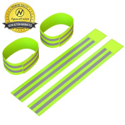 Reflective Ankle Bands (4 Bands/2 Pairs)   High Visibility and Safety for Jogging/Cycling/Walking etc   Works as Wristbands, Armband, Leg Straps   Accessories for Sports/Running Gear