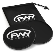 Core Sliders by FWY sports, Workout Gliding Discs for Fitness, Exercise and Abdominals, Dual Sided, Work on Carpet or Hard Floor, Black