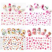Le Fu Li 4 Sheet Stickers Dreamy Flower Decal Nail Art Decoration