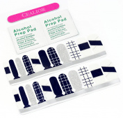 Cealior Premium Nail Wraps/Nail Stickers/Nail Strips/Nail Foils/Nail Decals,Salon Effect,Instant Manicure,Includes 20 Nail Wraps with Different Sizes for Fingers or Toes,Gentleman