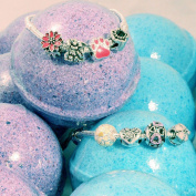 Hidden Charms DAY & NIGHT Bath Bombs - Set of 2 with BONUS Silver Charm Bracelet in a Clear Make-up Bag