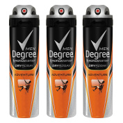 Degree Men Antiperspirant Deodorant Dry Spray, Adventure, 3 Count