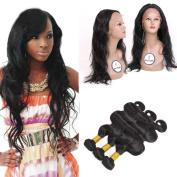 FASHIJIA Body Wave Brazilian Human Hair Bundles With 360 Lace Frontal closure 4Pcs Brazilian Virgin Hair Bundles with 360Lace Frontal Closure 2242