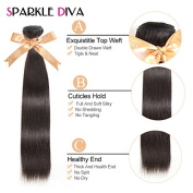 Sparkle Diva Unprocessed 7a Grade Brazilian Straight Virgin Human Hair 3 Bundles with 360 Lace Frontal Closure(22×4×2)