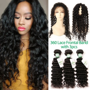 MissIvy Pre Plucked 8A Grade Unprocessed Brazilian Virgin Hair 3 Bundles Deep Wave with 360 Lace Frontal 100% Human Hair 360 Frontal With Baby Hair 16 18 20+36cm