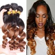 XCCOCO Brazilian Virgin Hair Loose Wave Hair Weave 3 Bundles T1B30 Ombre Hair Wefts Loose Deep Wave Black to Medium Auburn Two Tone Human Hair Weaves