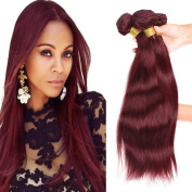 XCCOCO Hair 8A Peruvian Virgin Straight Hair Weave Bundles Deal 4pcs/set Remy Silk Straight Hair Extensions Wine Red Pure 99j# Colour 100g/Bundle
