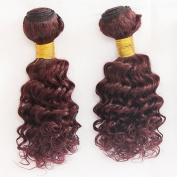 V'NICE Burgundy Loose Curly Brazilian Hair 2 Bundles Wine Red Remy Human Hair Extensions Sale 200 Grammes