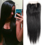UR Meili Brazilian Lace Closure Straight Bleached Knots 4x 4 With Body Hair Natural Colour 100% Human Remy Hair Three Part 36cm
