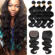 """Cherie Hair Peruvian Body Wave with Closure Virgin Remy 3 Bundles with 4""""4"""" Lace Closure 7A Grade 100% Uprocessed Hair Bundles with Free Part Closure"""