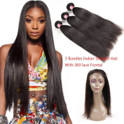 Beauty Princess 8A Indian Virgin Hair Straight 360 Lace Frontal with Bundles Pre Plucked 3pcs Straight Virgin Hair with Frontal Closure Human Hair with 360 Frontal Closure (10 12 14+10