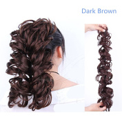 DSOAR 36cm - 60cm Brown Curly Human Hair Ponytail Hair Extension Real Human Hairpiece