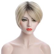 karlery Unisex 20cm Blonde Bob Wigs Fashion Root Dyed Wigs