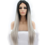 Yesui Natural Black Grey Long Straight Hair Synthetic Ombre Lace Front Wigs for Women Heat Resistant Fibre Wig