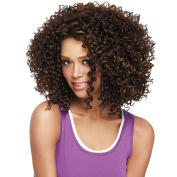 Alan Hair Fashion Summer Dark Brown Colour Kinky Curly Wigs, High-Temperature Synthetic Fibre Curly Wig for African American Women