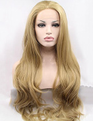 Women's Synthetic Lace Front Wigs Long Wavy #24 Golden Blonde Wig Glueless For Women Heat Resistant Fibre Hair Half Hand Tied 60cm