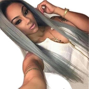 Ten Chopstics Wig 1BTGrey Ombre Human Hair Wigs Silky Straight Two Tone Full Lace Wigs Glueless Brazilian Wig Lace Front Wigs for Black Women Bleached Knots Natural Baby Hair 130% Density