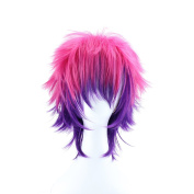 ColorGround Short Straight Rose Red Mixed Purple Synthetic Anime Cosplay Wig