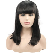 Aoert Lace Front Straight Wig With Bangs Black Bob Heat Resistant Synthetic Hair Replacement Wigs for Women