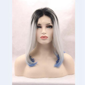 Short bob ombre 1b#/grey/blue middle part synthetic hair glueless lace front wig