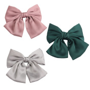 PIDOUDOU Set of 3 Pink Big Satin Solid Bow Hair Clips Women Barrettes