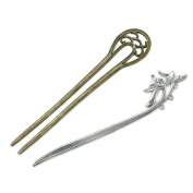 HUELE 16cm Long Metal Wedding Party Hair Stick Pick Fork Hairpin