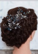 FXmimior Bridal Women Blue Vintage Wedding Party Hair Pins Crystal Hair Accessories