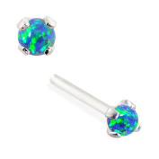 MsPiercing 14K Gold Customizable Nose Stud With 2Mm Round Blue Green Synthetic Opal