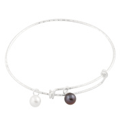 Bella Pearls Sterling Silver Diamond Cut Adjustable Bangle with Black and White Round Freshwater Pearl Charms
