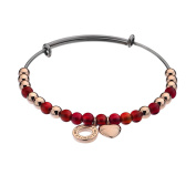 Emozioni Rose Gold Plated and Semi-Precious Stones Stainless Steel Bangle