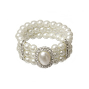 Mytoptrendz® Three Row White Faux Glass Pearls Stretchy Bracelet With Clear Rhinestone Crystal And Oval Shape Pearl