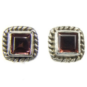 Garnet sterling silver ear studs - Stone size 4mm